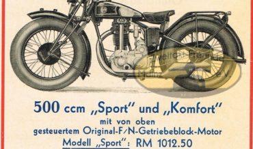 """FN 500 OHV """"Sport"""" und """"Komfort"""" (1932)"""
