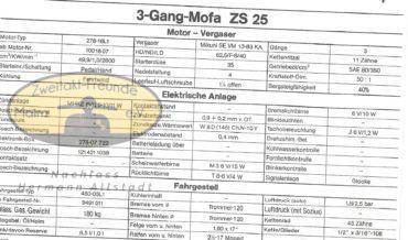 Zündapp 3 Gang Mofa ZS 25