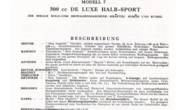 New Imperial Modell 7 500cc De Luxe Halb-Sport