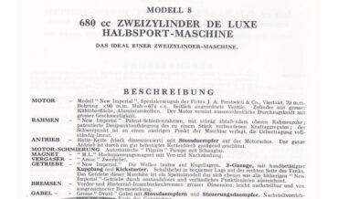 New Imperial Modell 8 680cc Zweizylinder De Luxe Halbsport-Maschine